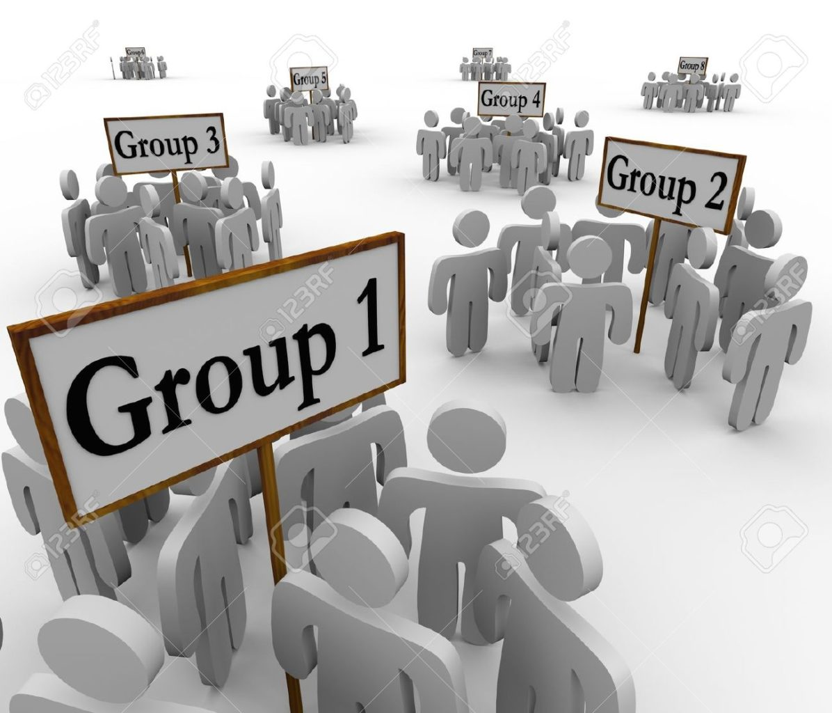 A stock photo of groups of people in different factions