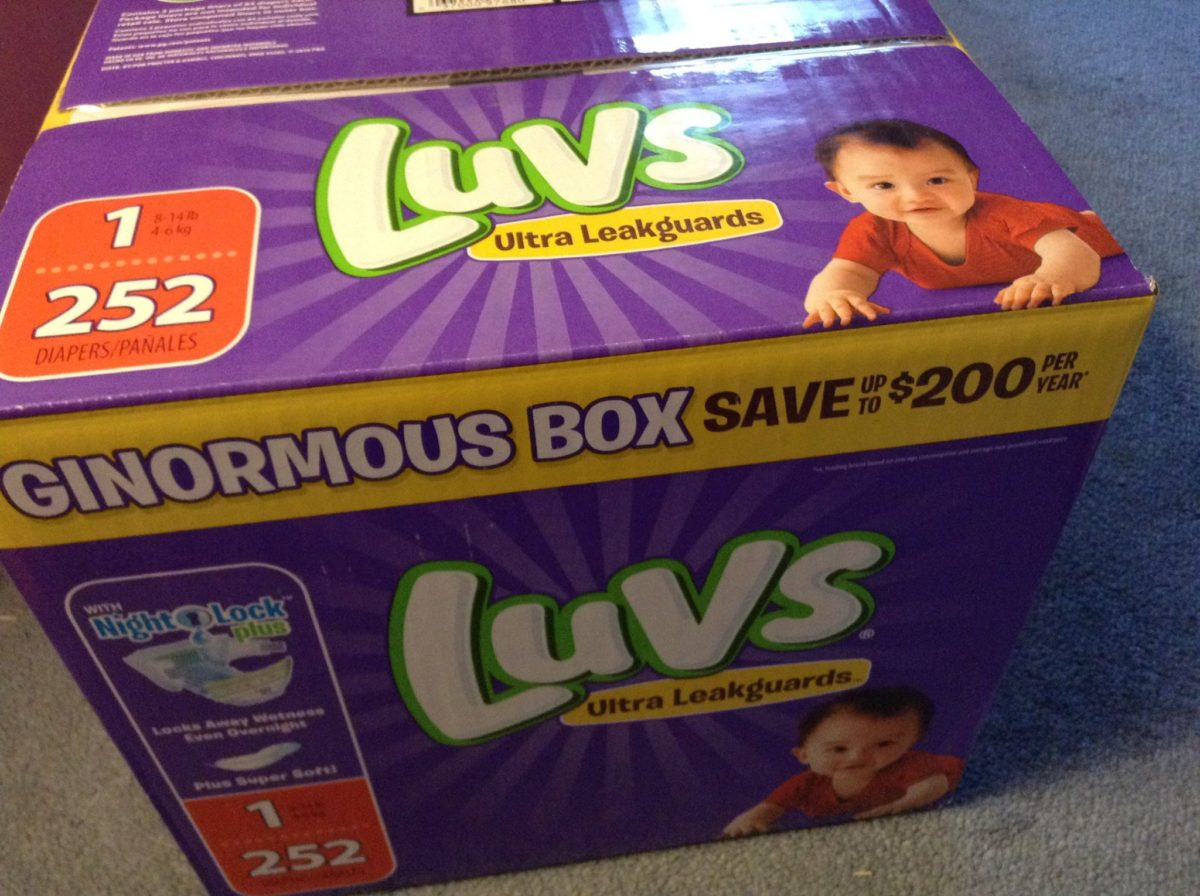 A giant box of diapers