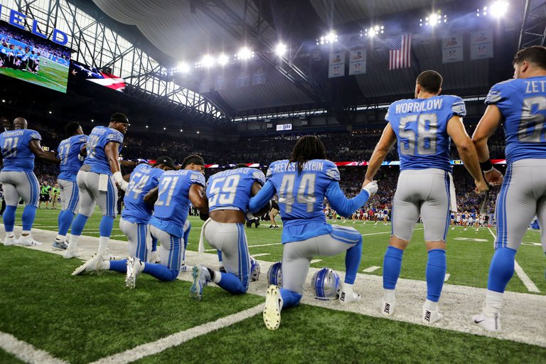 NFL players' peaceful protest against inequality and racism
