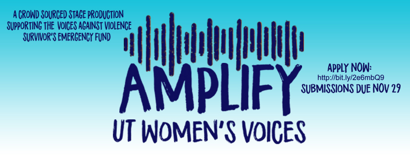 "A photo reading ""amplify UT women's voices"""