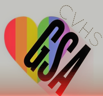 "A rainbow heart that reads ""CVHS GSA"""