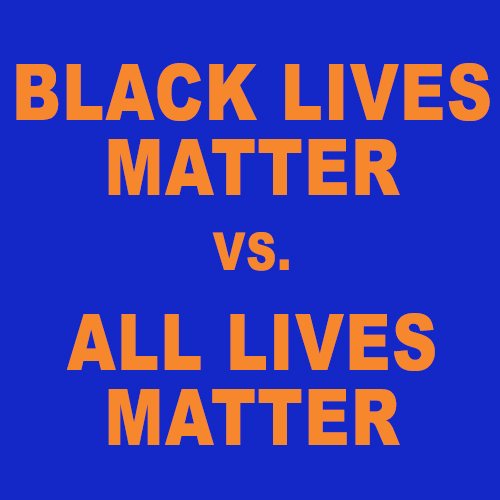 "A photo that reads ""black lives matter vs all lives matter"""