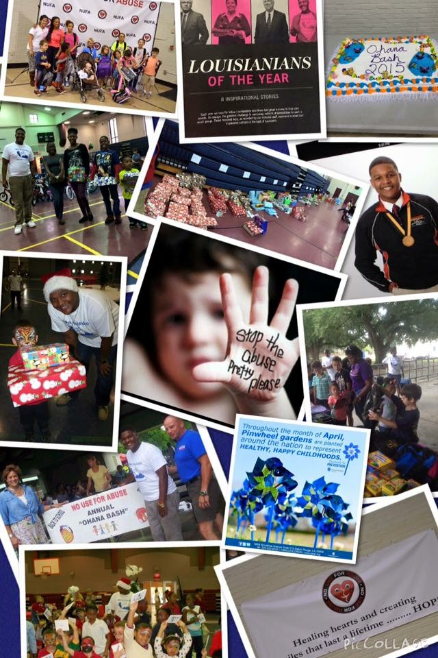 A collage of pictures of the young people's work and achievements on the issue of child abuse