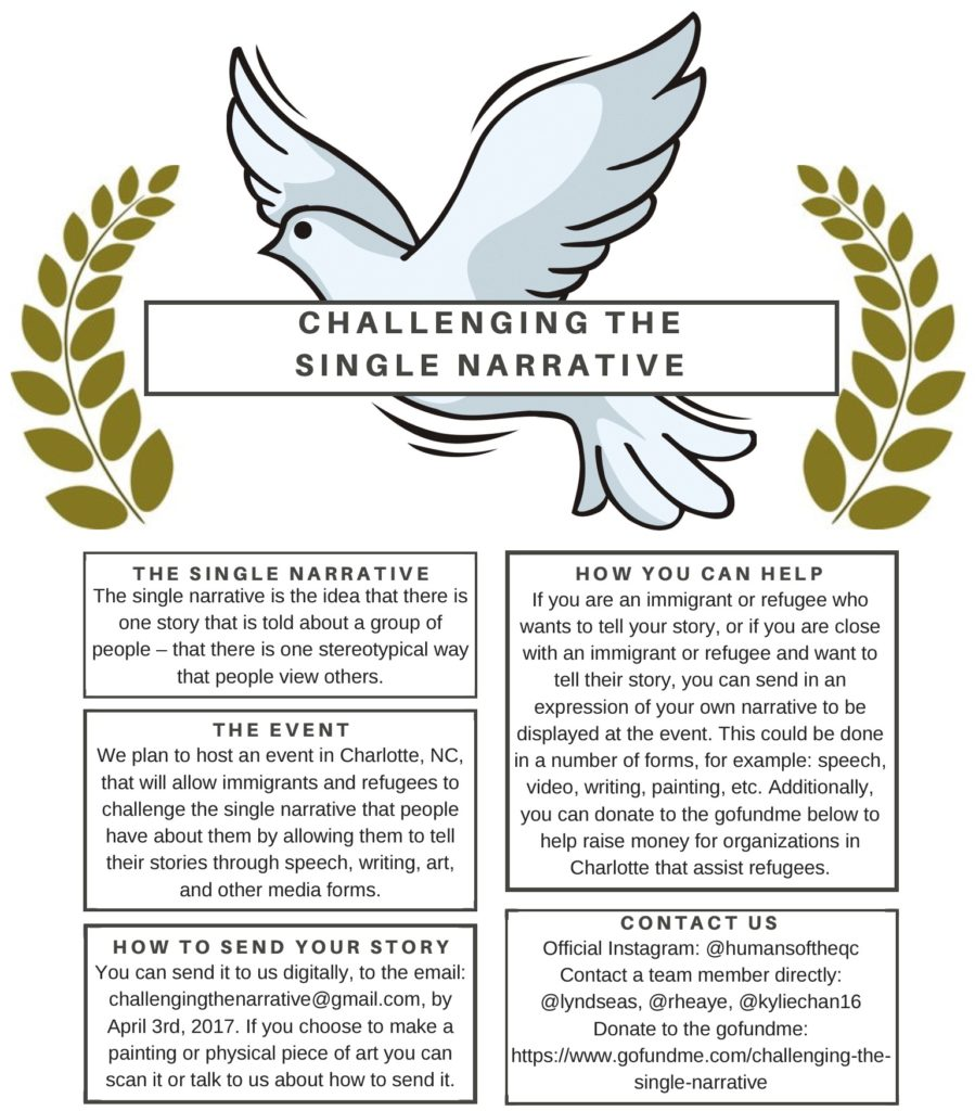 "A flier that reads ""challenging the single narrative"""