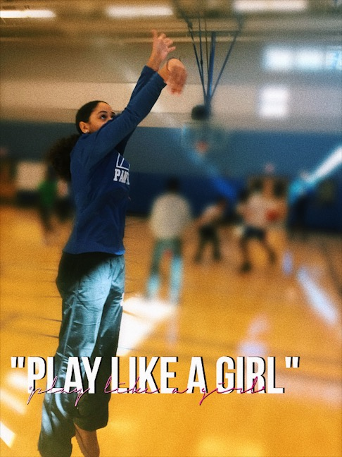 "A video of a girl shooting baskets that reads ""play like a girl"""