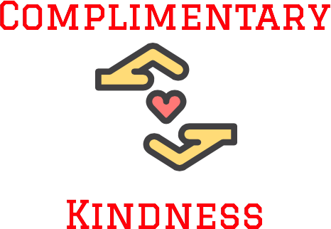 "A logo of two hands holding a heart reading ""complimentary kindness"""