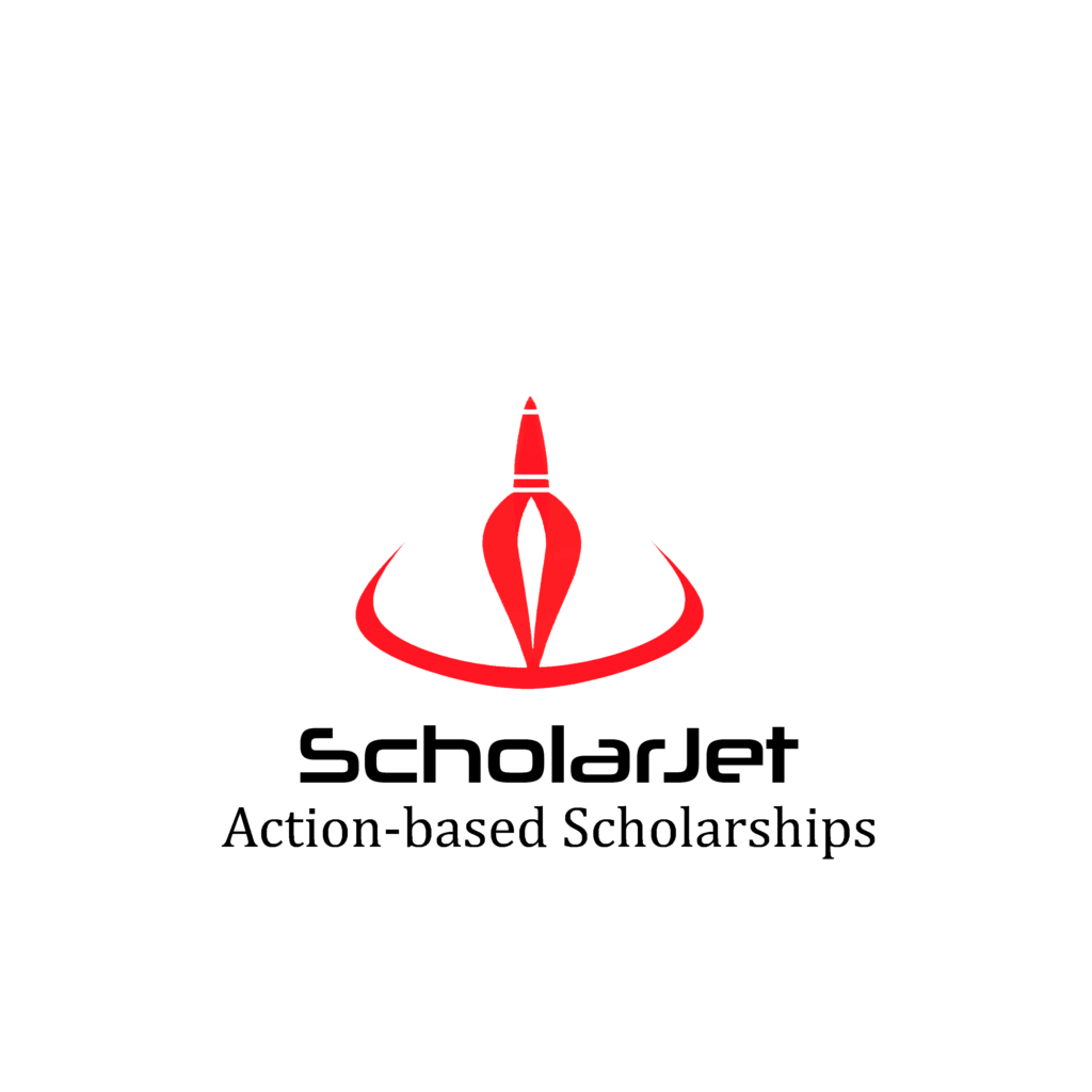 "a logo of a rocket that reads ""scholarjet: action-based scholarships"""