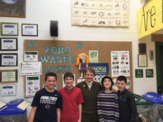 A student-led team tackles waste at Park Forest Elementary School in State College, PA. PHOTO CREDITS: Donnan Stoicovy