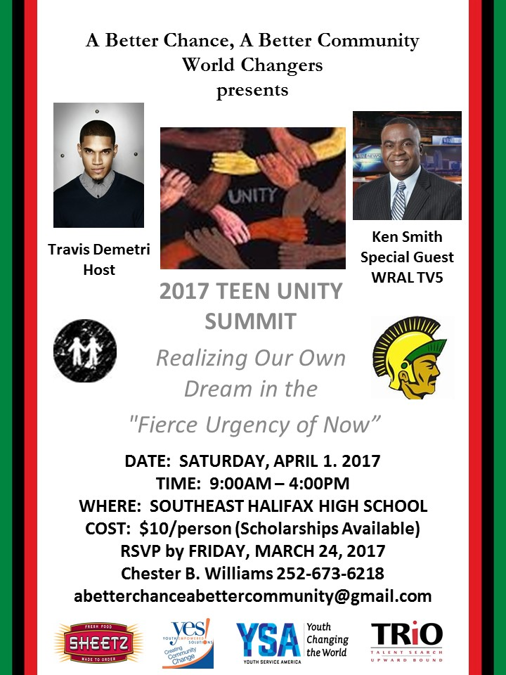 A flier for the teen unity summit weekend