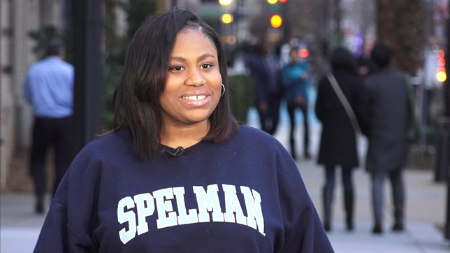 Mary-Pat rocking her Spelman College sweatshirt