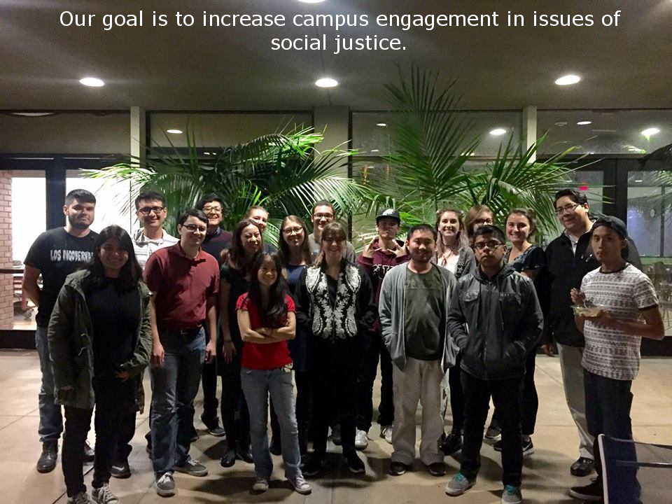 "A photo of a group of young people that reads ""our goal is to increase campus engagement in issues of social justice"""
