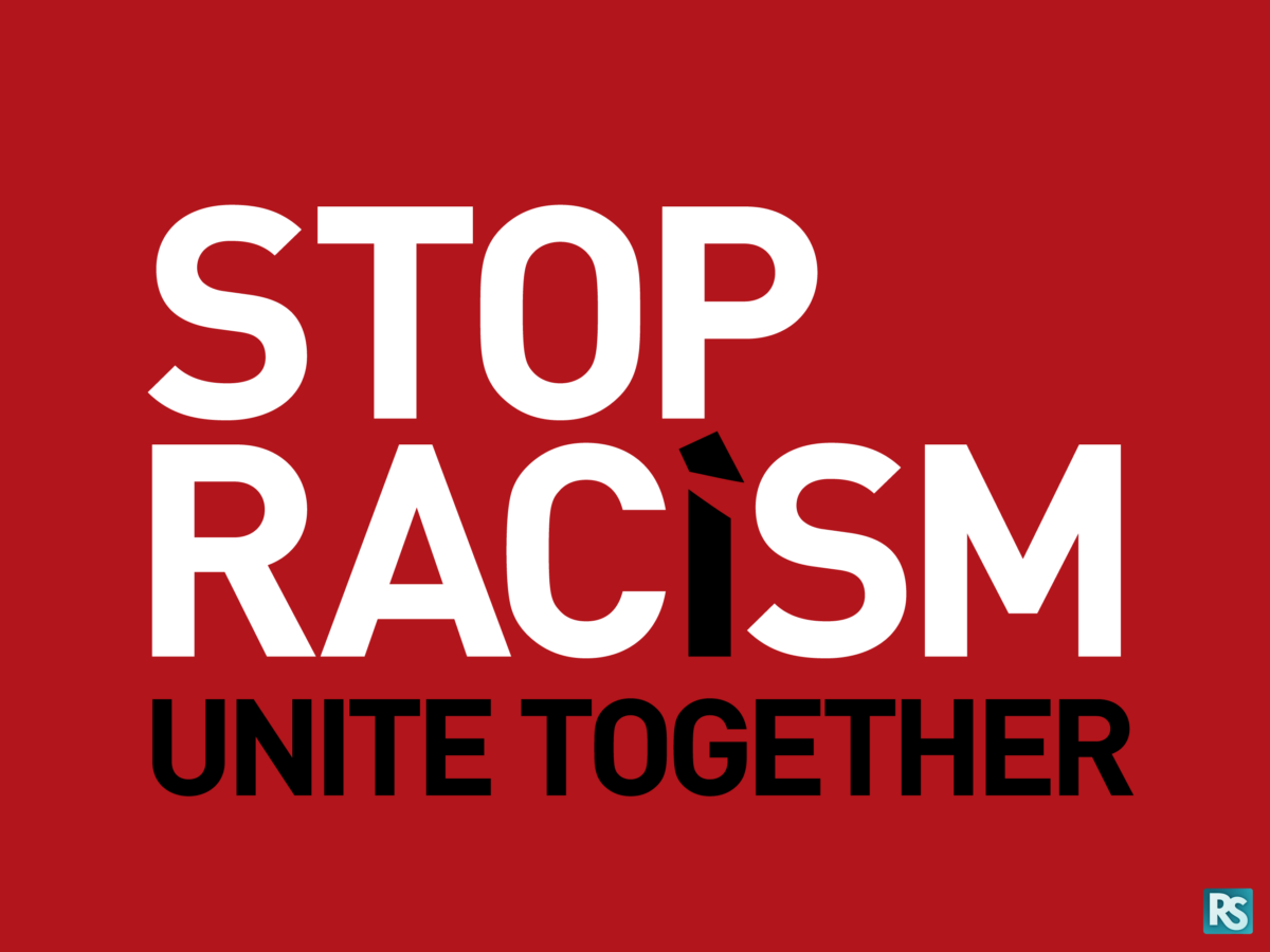 "A logo that reads ""stop racism, unite together!"""