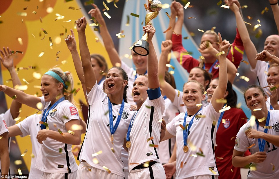 The U.S. women's soccer team after they won the 2015 World Cup championship. PHOTO CREDITS: Getty Images via Daily Mail