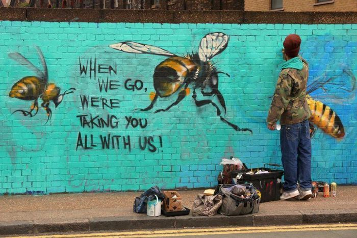 Save the bees street art in London, England