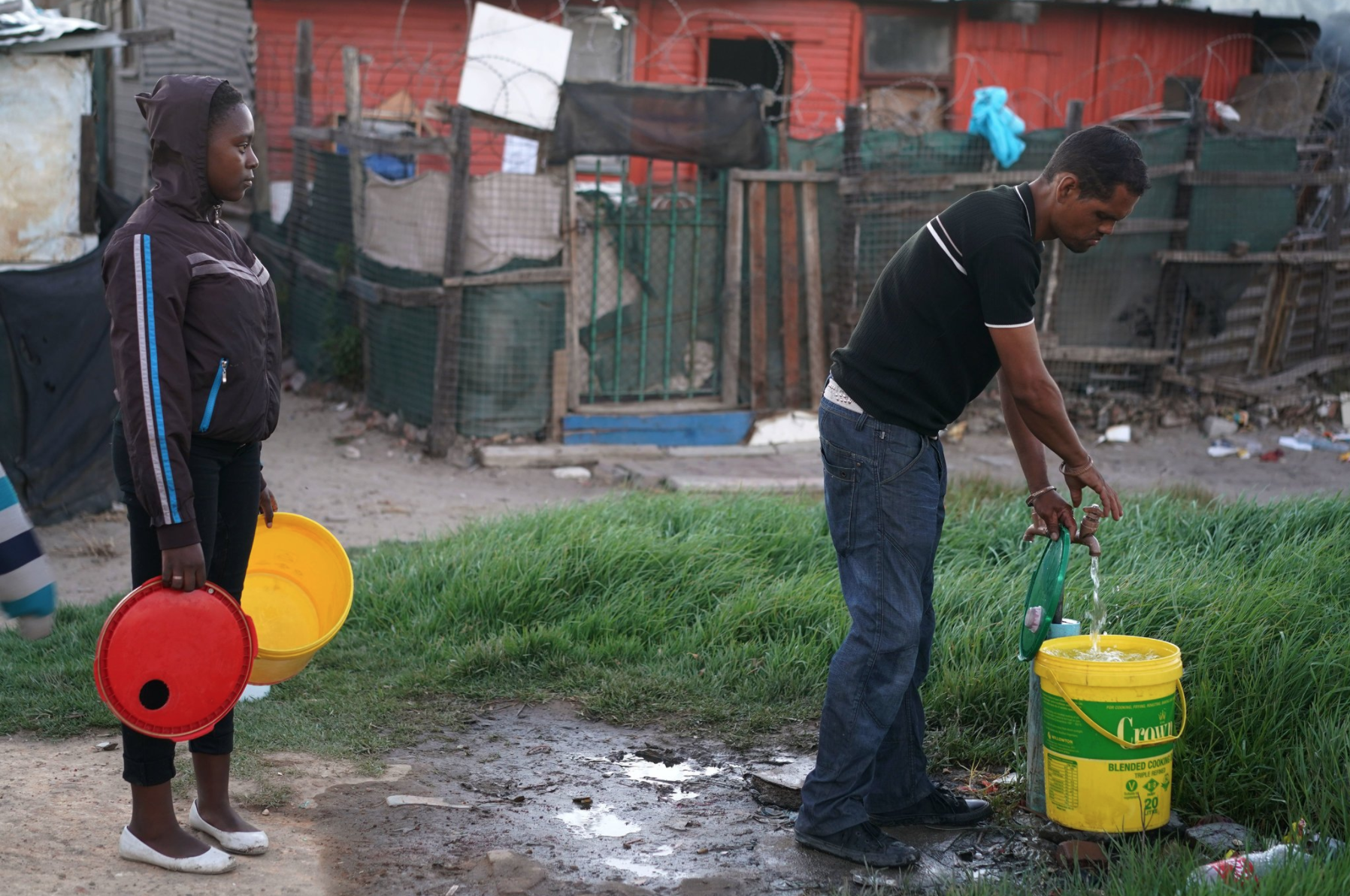 Residents getting water in South Africa