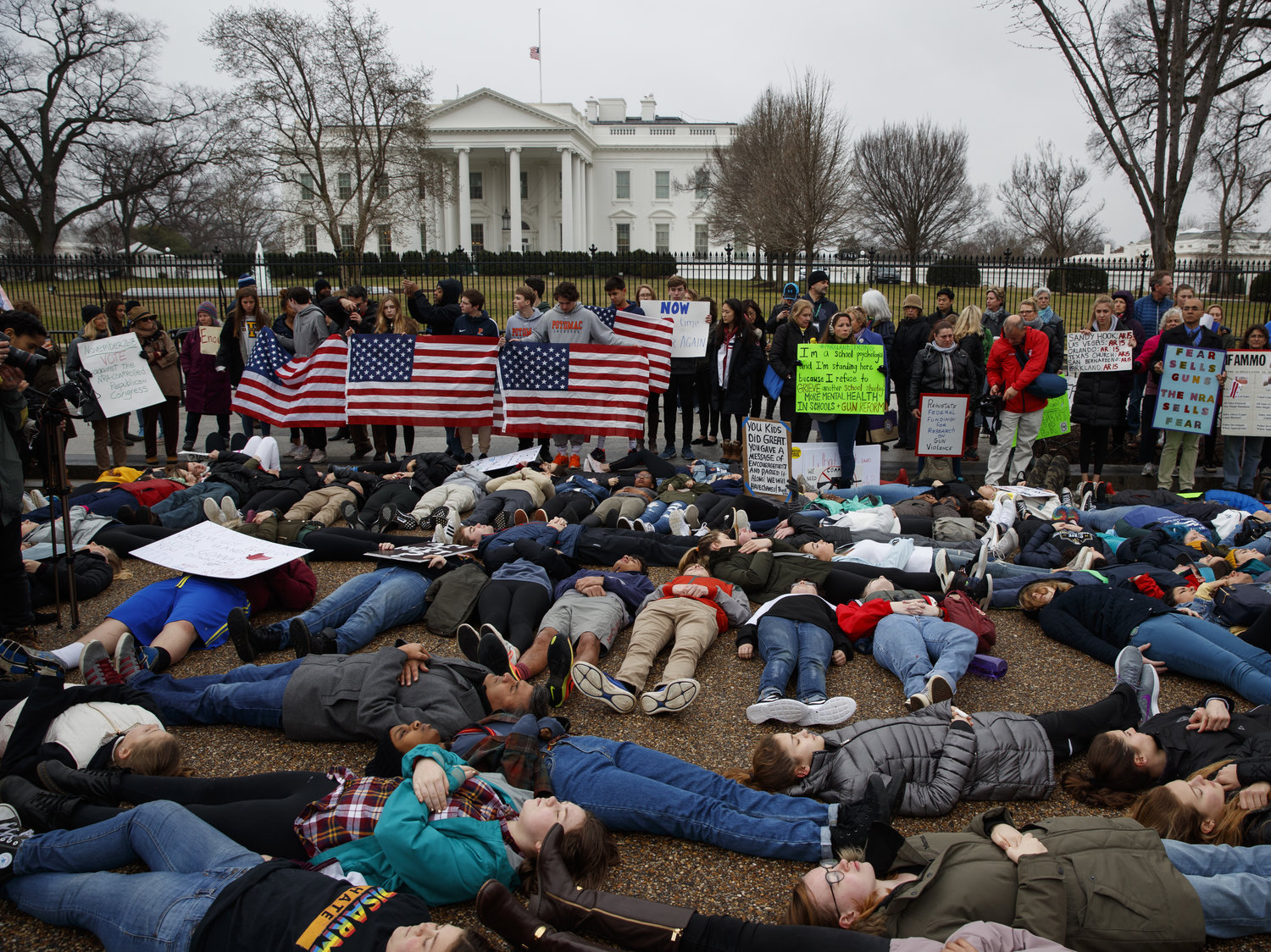 Students protest gun violence at the White House