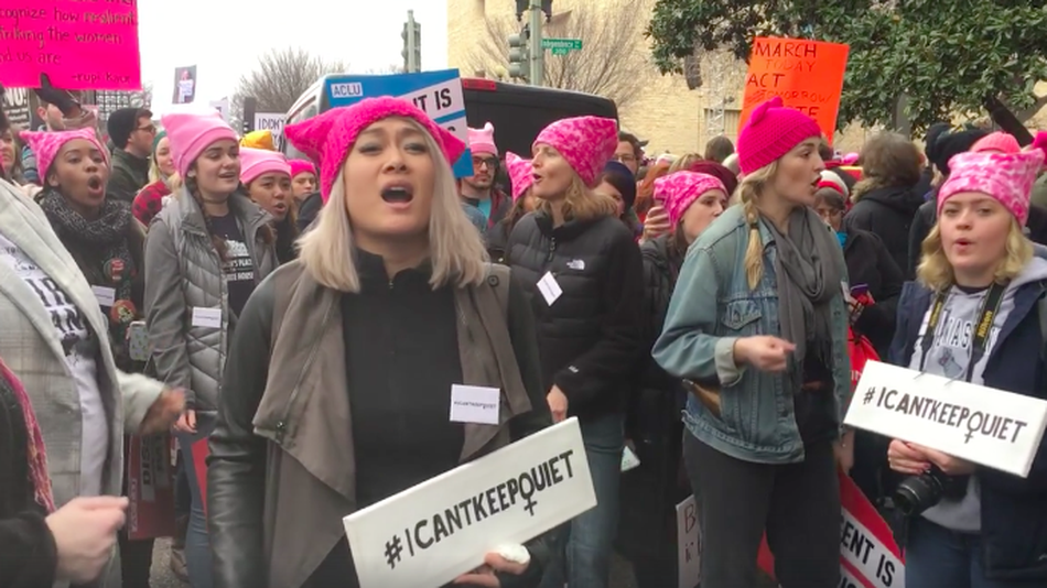 A flash mob performance gone viral by the #ICANTKEEPQUIET choir at the Women's March on Washington. PHOTO CREDITS: ALMA HAR'EL VIA FACEBOOK