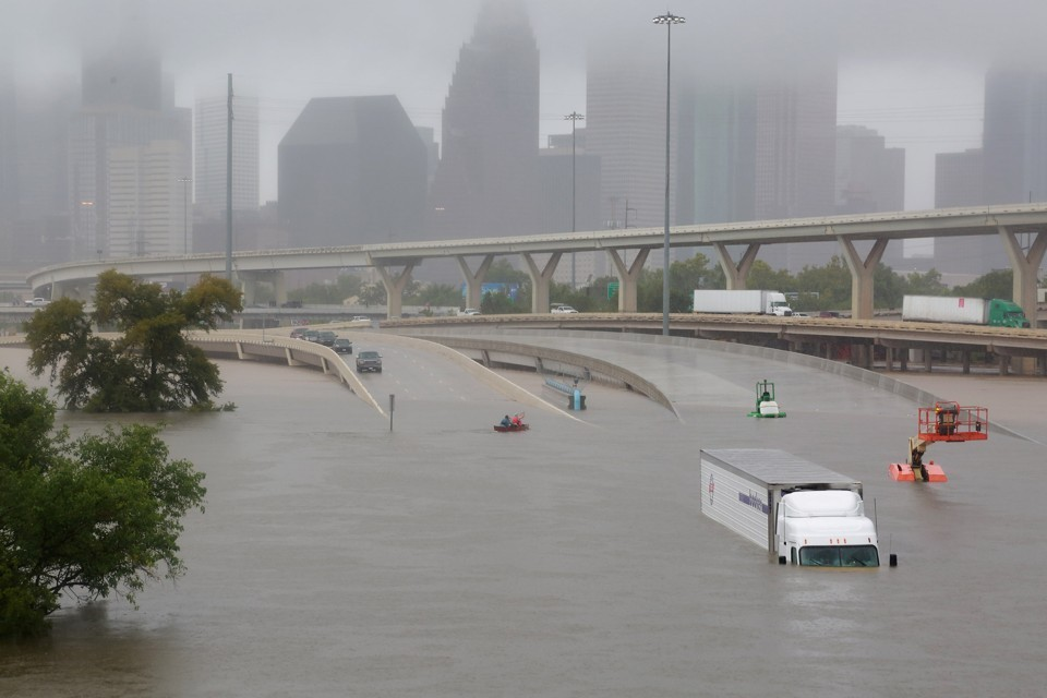 Interstate 45 in Houston was submerged by Hurricane Harvey's widespread flooding on Monday, August 28, 2017. PHOTO CREDIT: Richard Carson / Reuters via The Atlantic