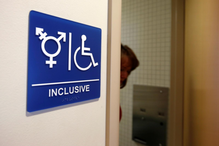 A gender-neutral bathroom is seen at the University of California in Irvine, CA, September 30, 2014. PHOTO CREDITS: Lucy Nicholson/File Photo via Reuters
