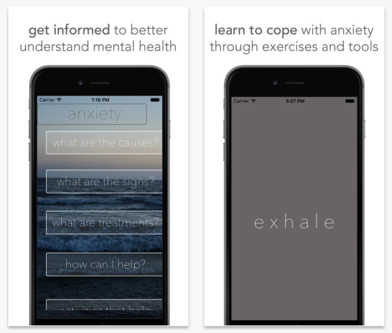Anxiety Helper, an iPhone app created by 15-year-old Amanda Southworth to help young people deal with mental health issues.