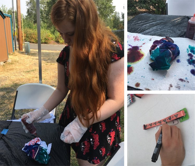 A series of images of the service work Kirah and her friends worked on - tie dying, collar decorating