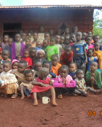 Nyarugusu Refugee children group photo after story telling sessions in Nyarugusu